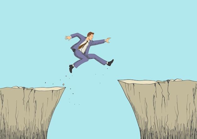 Мультфильм иллюстрация человека прыгает с оврага