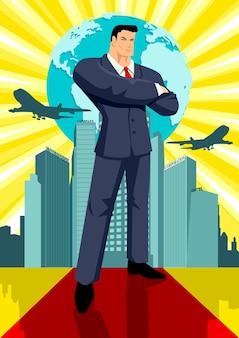 ビジネスマン、建物、地球の前に立つ