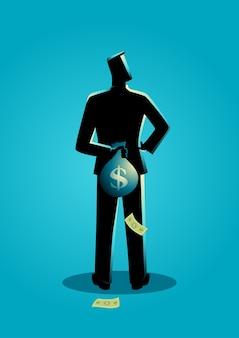 彼の背中の後ろにお金の袋を隠している男