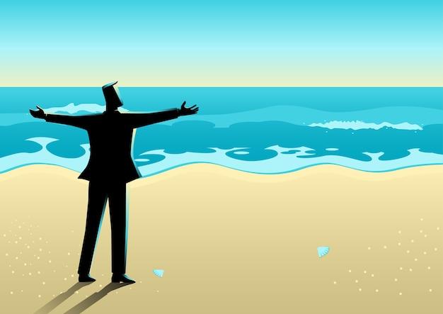Бизнесмен открывает руки на пляже