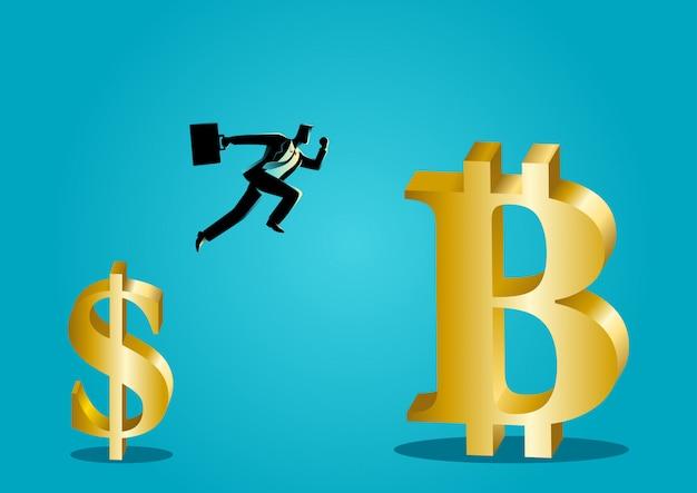 ビジネスマンはドルからビットコインシンボルにジャンプ