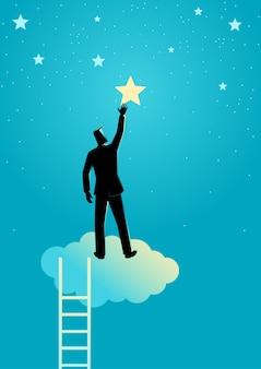 ビジネスマンは星に手を差し伸べる