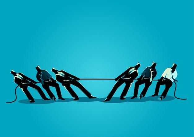 Работа в команде бизнесменов в перетягивании каната