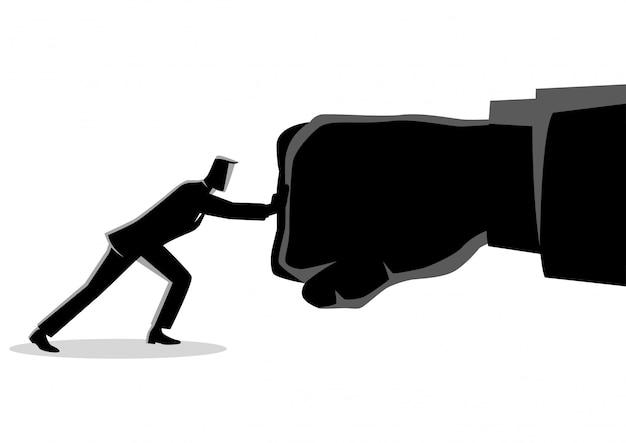 Бизнесмен держит гигантский удар