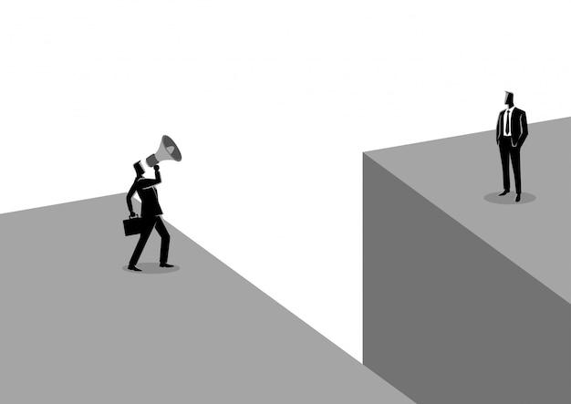 Бизнесмен кричит другому бизнесмену с мегафоном