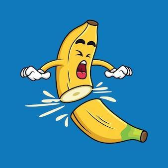 Мультфильм банан нарезанный на кусочки в синий