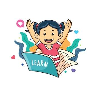 幸せな表情の本で勉強している女の子