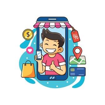Мальчик, делающий покупки онлайн, используя смартфон