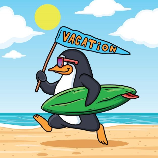 ペンギンはビーチで休暇に行く