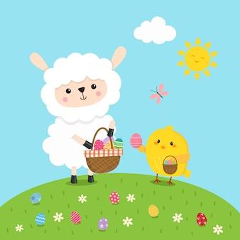 イースターエッグを集める子羊