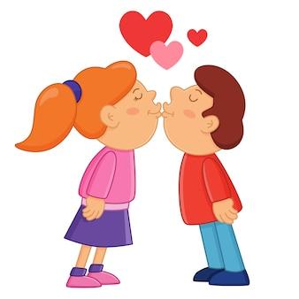 Мальчик и девочка целуют день святого валентина