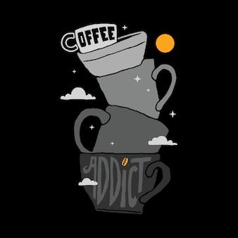 Иллюстрация кофе наркоман