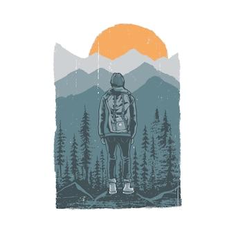 キャンプハイキング自然野生のグラフィックイラスト