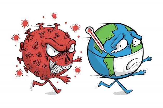 コロナウイルス地球キャラ世界図解
