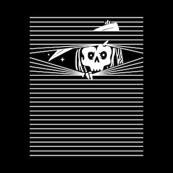 Жнец с черепом, дизайн футболки