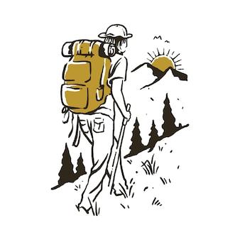 Кемпинг пешие прогулки восхождение на гору иллюстрация