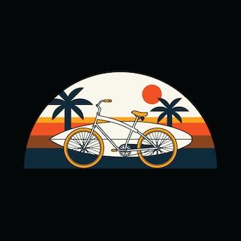 自転車サーフ夏ビーチグラフィックイラスト
