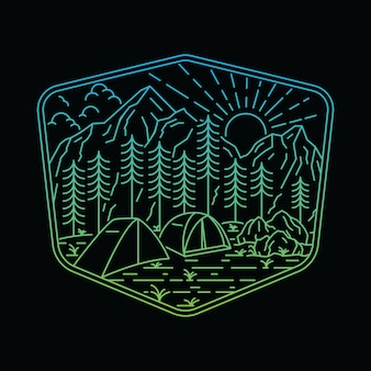 Природа горный кемпинг походная линия иллюстрации