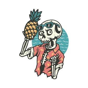 Череп скелет смерть лето пляж иллюстрация