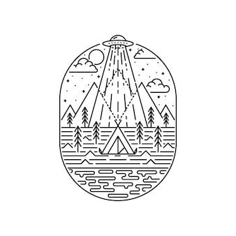 外国人キャンプハイキング登山自然アドベンチャーグラフィックイラスト