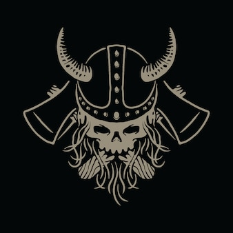Иллюстрация оси воинов викингов черепа