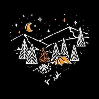 Отдых на природе в походе природа дикая линия графическая иллюстрация искусство дизайн футболки