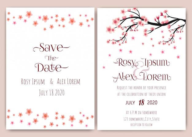 異なる装飾の美しい結婚式のカードのデザイン。