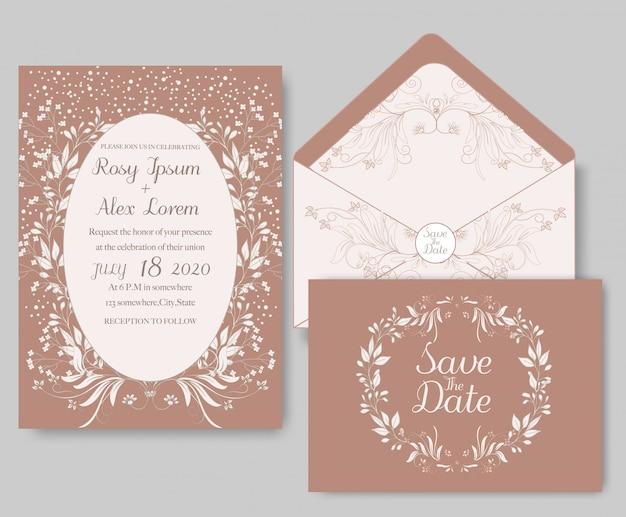 結婚式招待状の花のテンプレート。