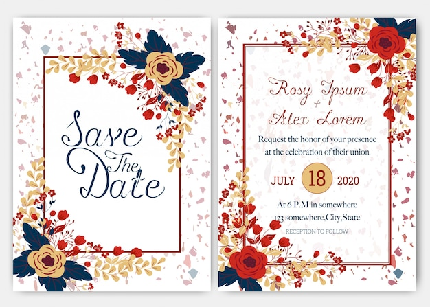 エレガントなウェディングカードはさまざまな種類の花で構成されています。