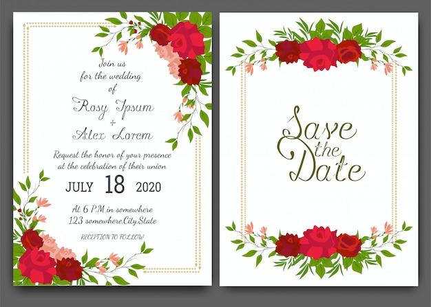 結婚式招待状の花の手描き下ろしフレーム