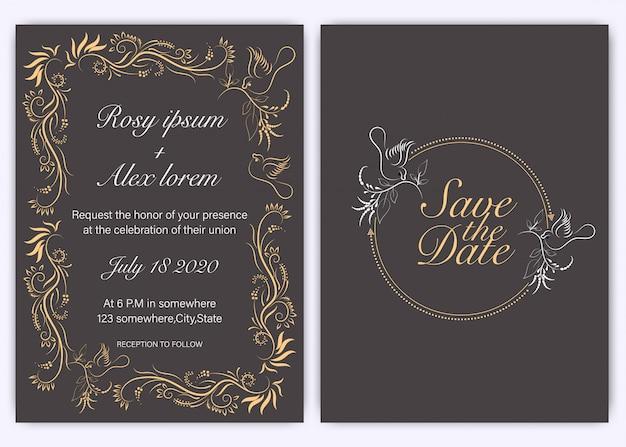 結婚式の招待カード花の手描き