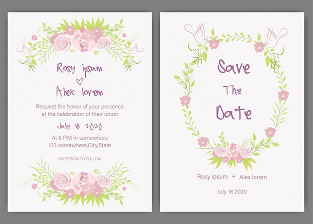 花の要素を持つ結婚式の招待カードのベクトルを設定