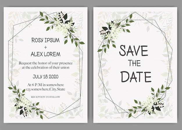 結婚式招待状、招待状、エレガントなラベンダーガーデンアネモネと日付カードのデザインを保存します。
