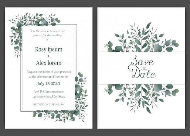 緑の結婚式の招待状カードのテンプレート、テンプレートユーカリ