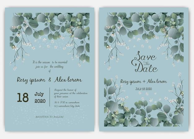 緑の結婚式の招待状カードのテンプレート、ユーカリ