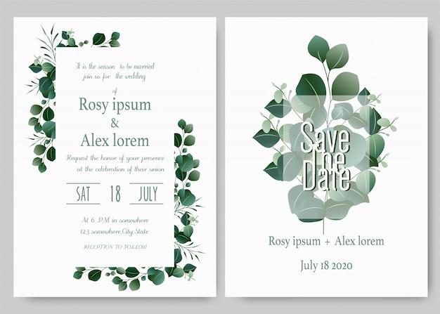 結婚式の招待カード花の手描きのフレーム