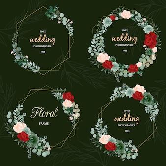 手描きの葉の花輪のロゴデザイン
