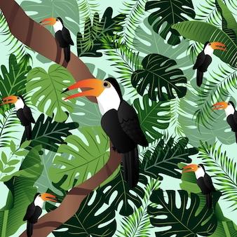 夏の熱帯図ヤシの葉鳥ベクトル画像。