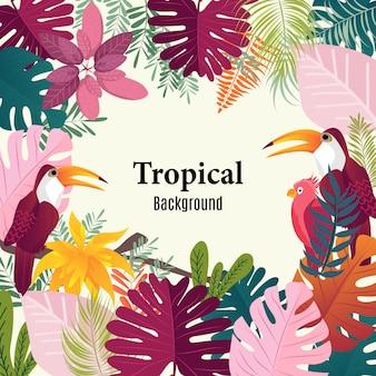 夏の熱帯背景ヤシの葉の鳥のベクトル画像。