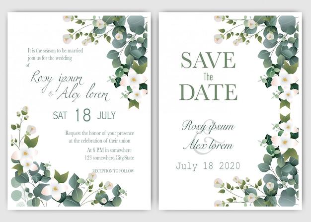 結婚式の招待カード花の手描きのフレーム。