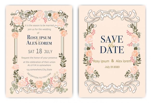 カラフルな花と葉の結婚式の招待カード。