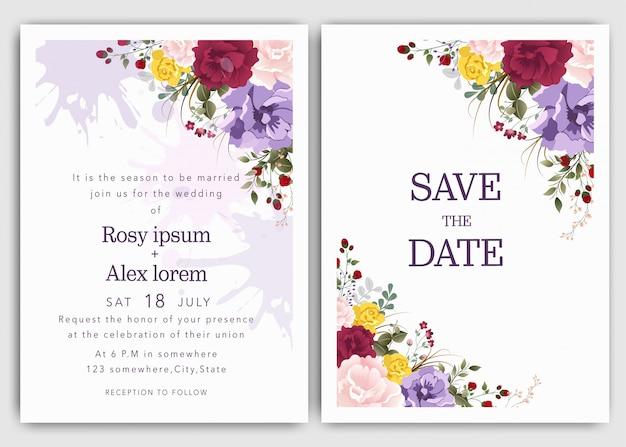 結婚式の招待状は、エレガントな庭のアネモネと日付カードのデザインを保存します。