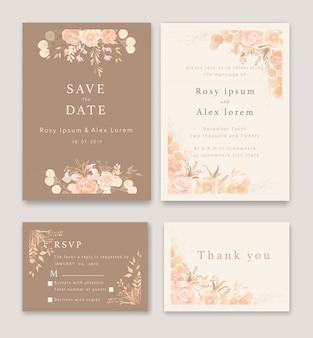 結婚式の招待状は、エレガントな庭のアネモネと日付カードを保存します。