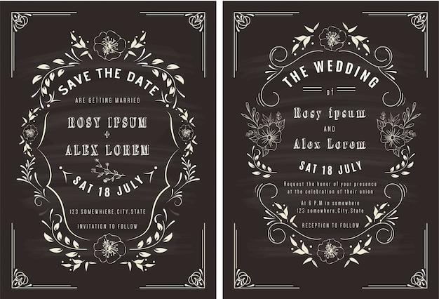 Векторный набор пригласительных билетов с элементами свадебной коллекции.