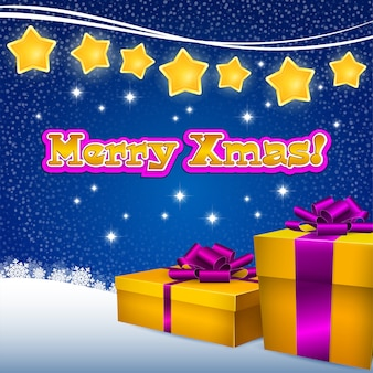 ギフトボックスとクリスマススター、青色の背景