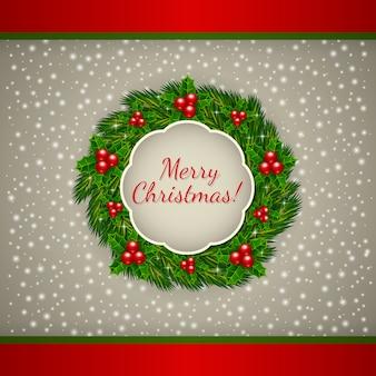 クリスマスの花輪とクリスマスの挨拶