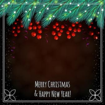 ベリーとクリスマスの茶色の背景