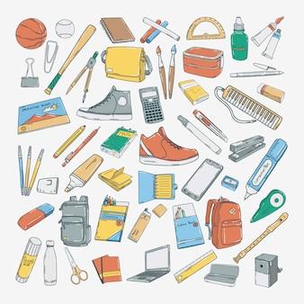 Нарисованные от руки иконки школьного образования