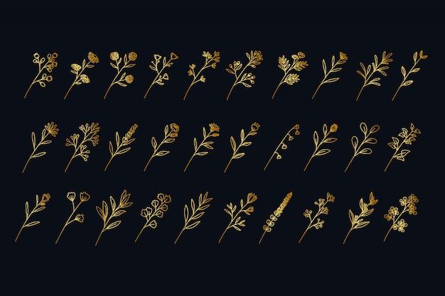 ヴィンテージ黄金手描き花支店コレクション