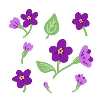 紫色の花の落書きの装飾フラットなアイコンのベクトルセット